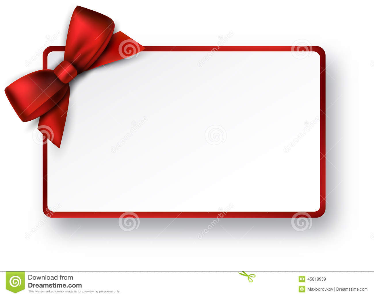 White Paper Gift Card With Red Satin Bow Stock Vector