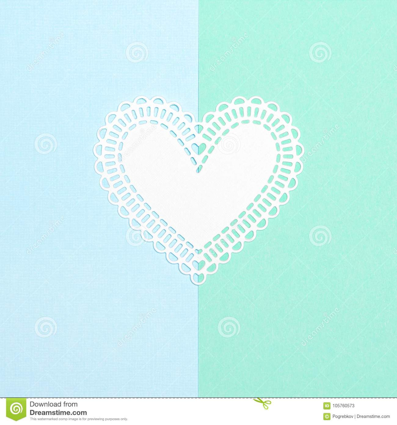 White Paper Heart On Blue And Turquoise Pastel Background Stock