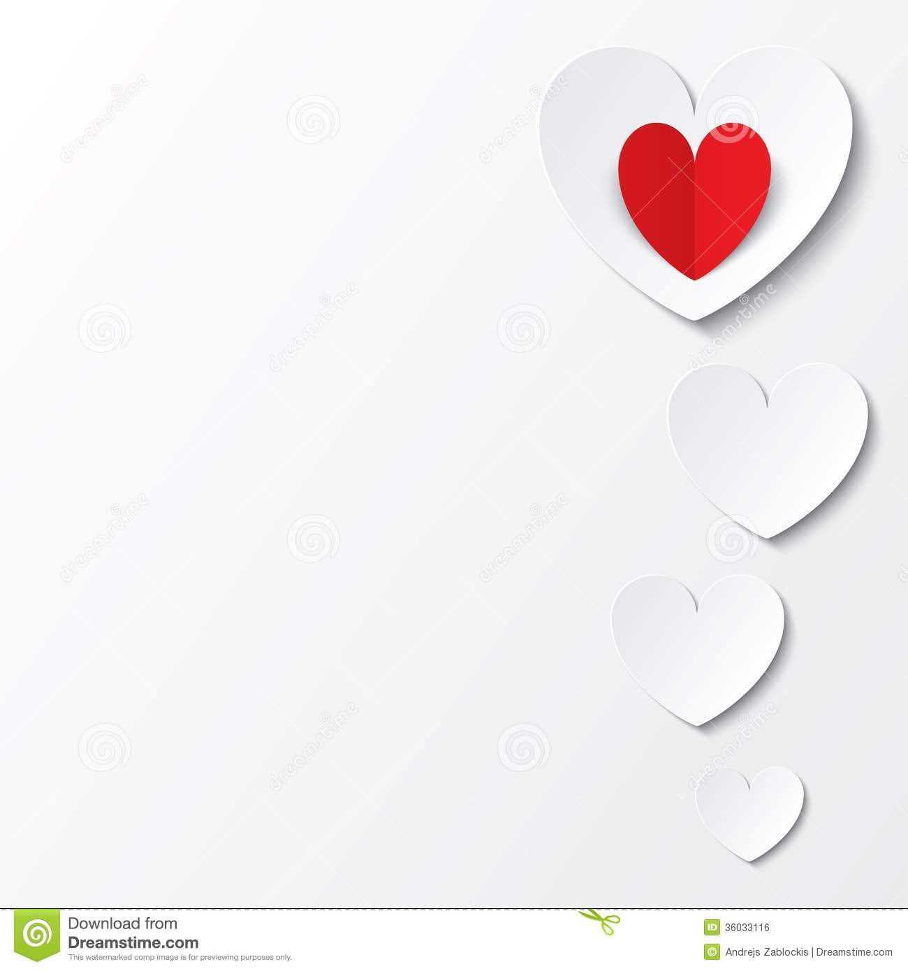 White Paper Hearts Valentines Day Card On White Stock Vector