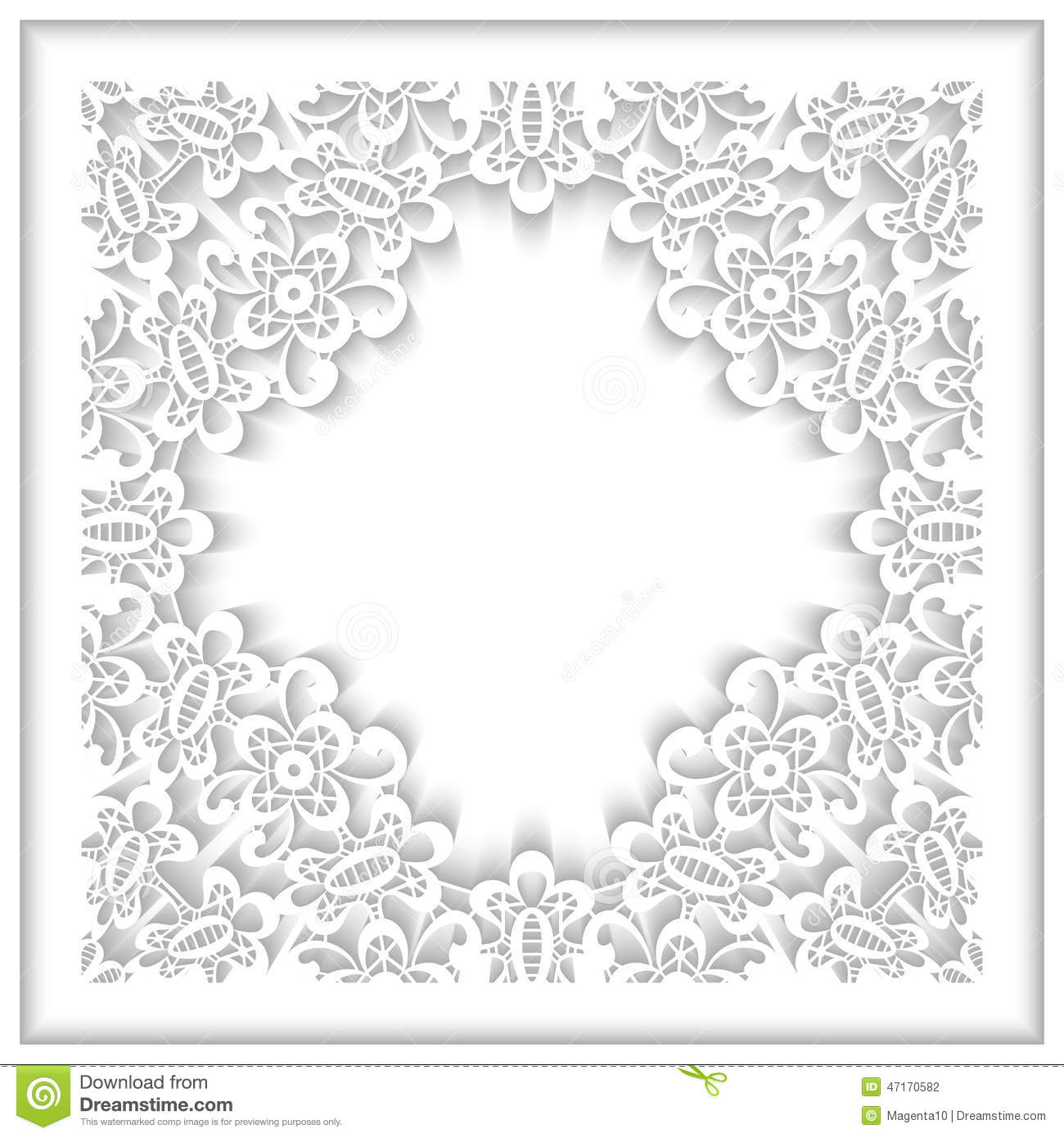 White Paper Lace Frame Stock Vector Image 47170582