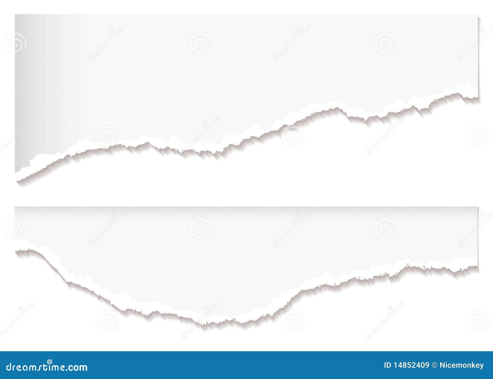 White paper rip edge