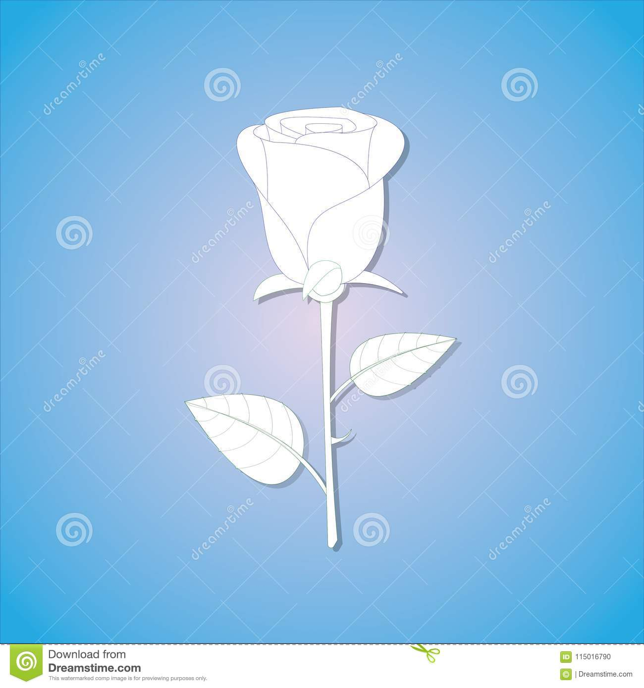 A Cool And Simple Paper Rose With Shade In Blue Background Stock