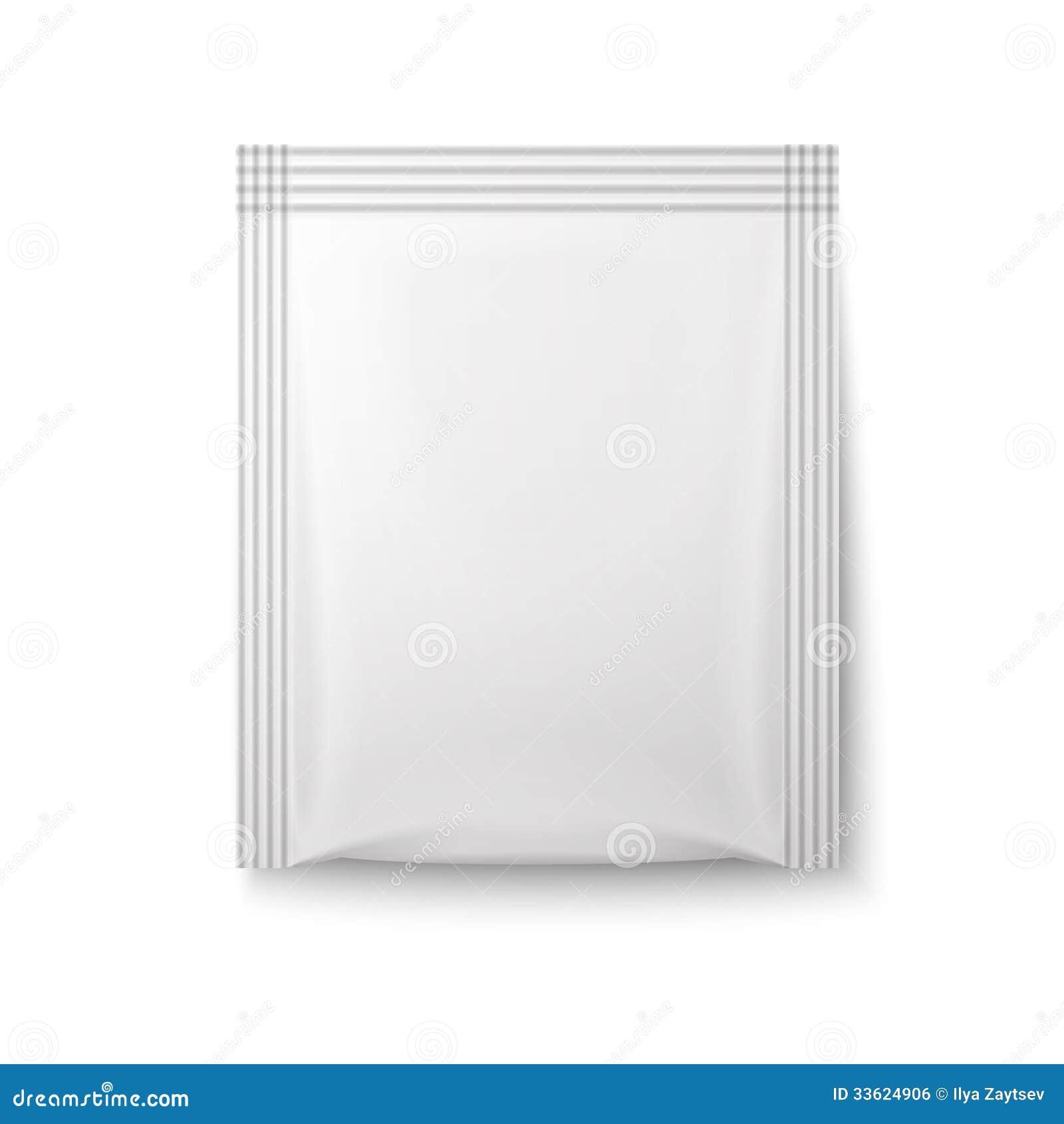 White paper sachet bag.