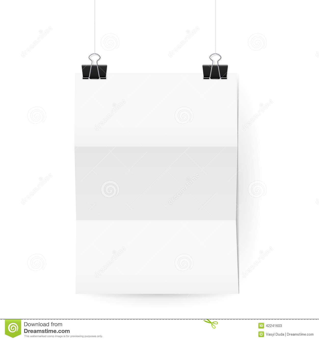 White Paper Sheet Hanging On Paper Clips On White Stock Vector
