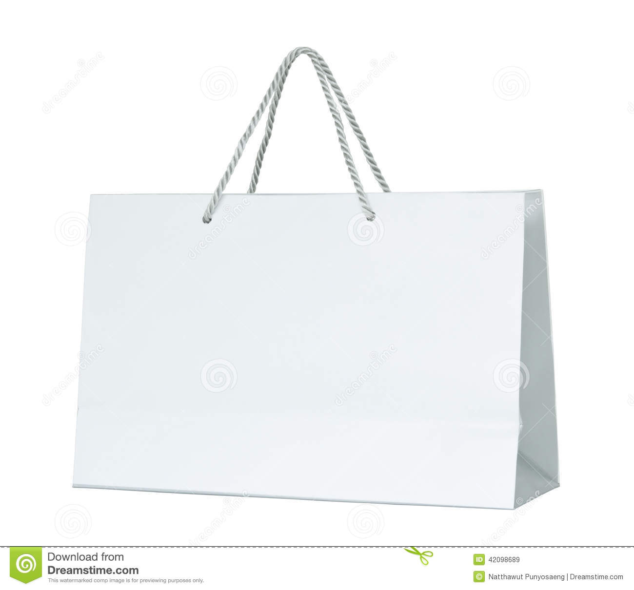 White Paper Shopping Bag Isolated On White Stock Photo - Image ...