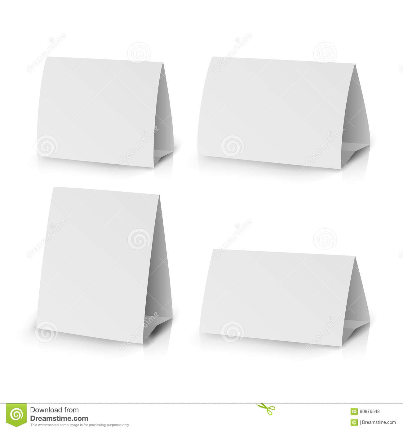 white paper stand table tag flyer vector stationery brochure design