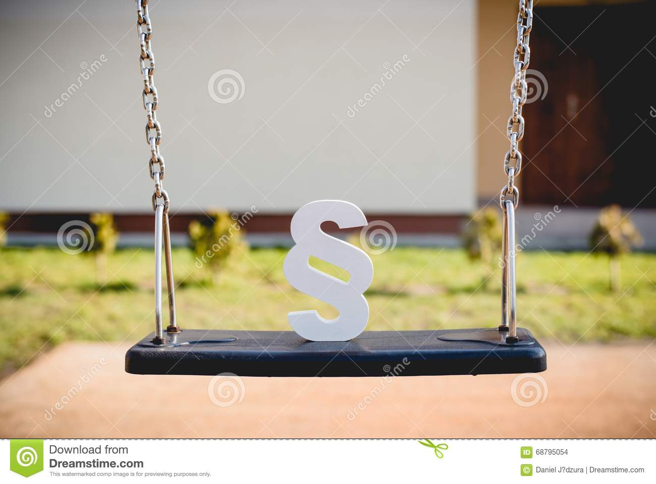 White Paragraph Symbol On Children Chain Swing Stock Photo Image