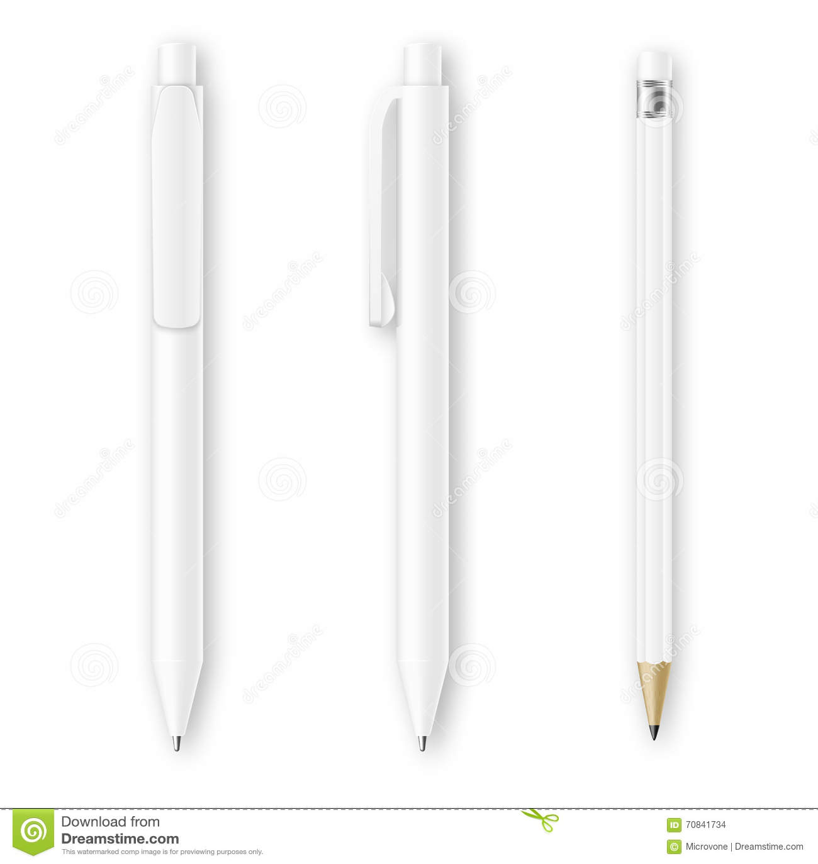white pen and pencil vector mockups corporate identity branding