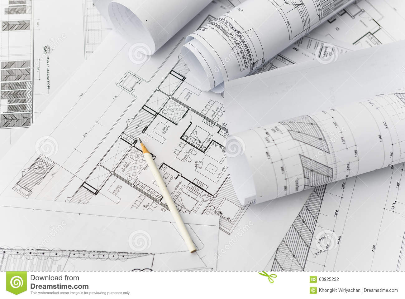 White pencil on architectural for construction drawings for Architecture design blueprint