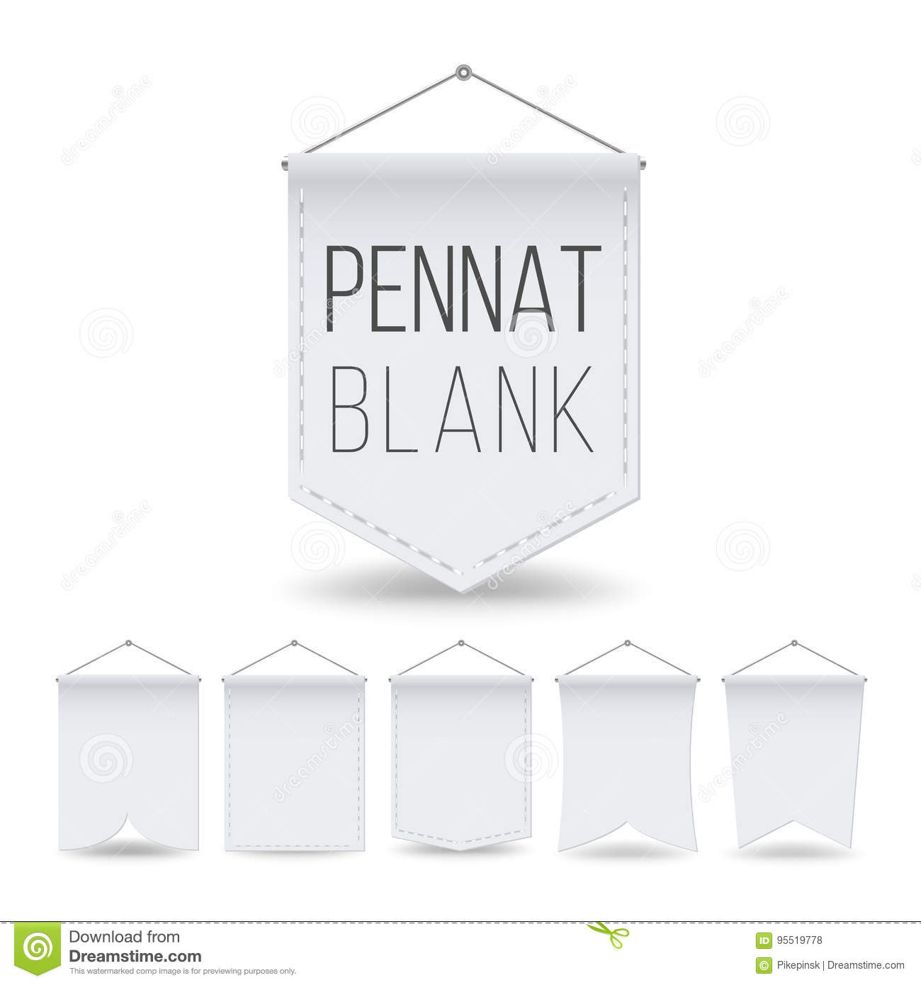 white pennant template set vector empty realistic pennants banners