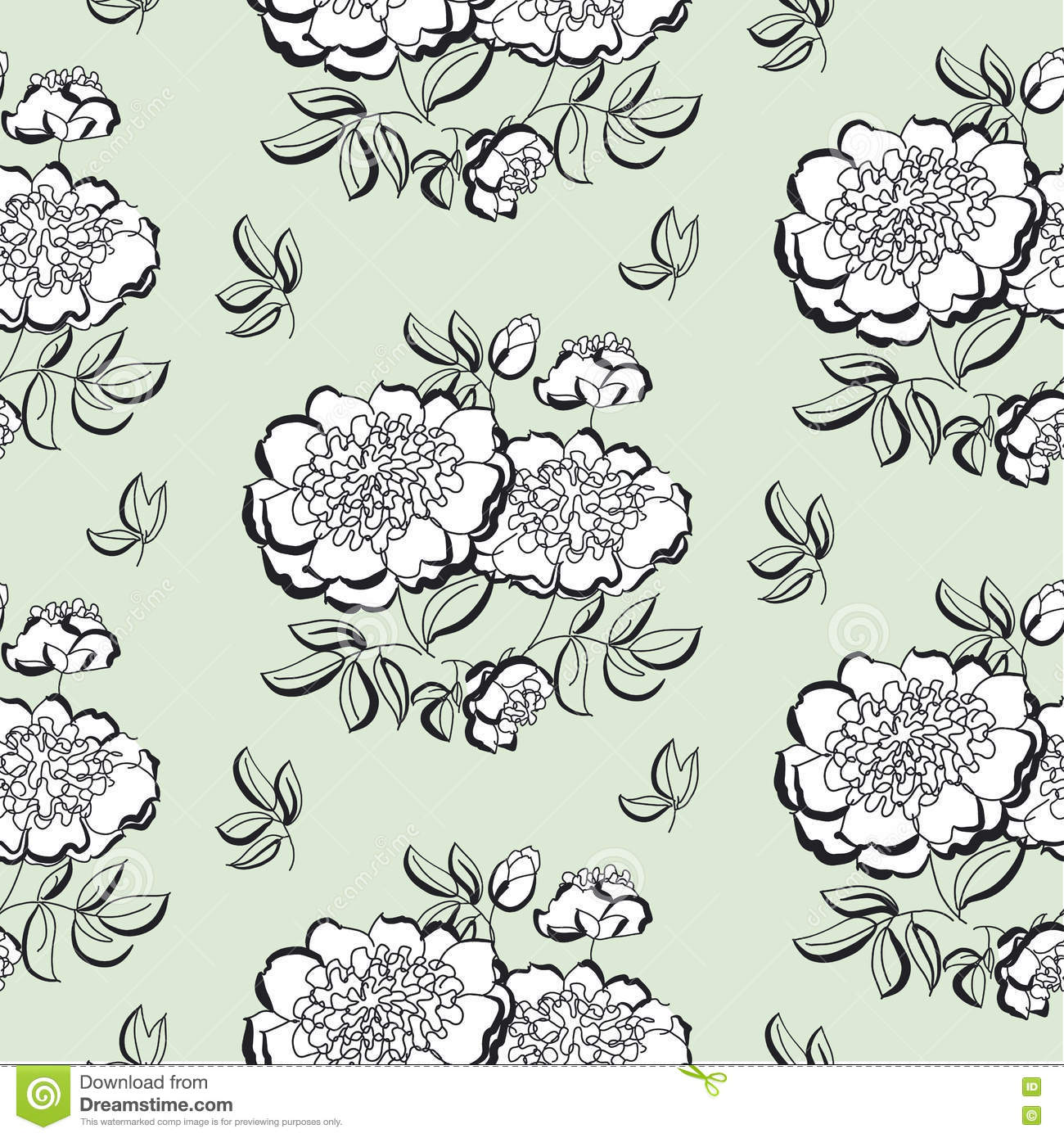 White Peony Floral Sketch Spring Flower Vector Illustration Black And Hand Drawn Seamless Pattern Pastel Color Flowing Tile Motif