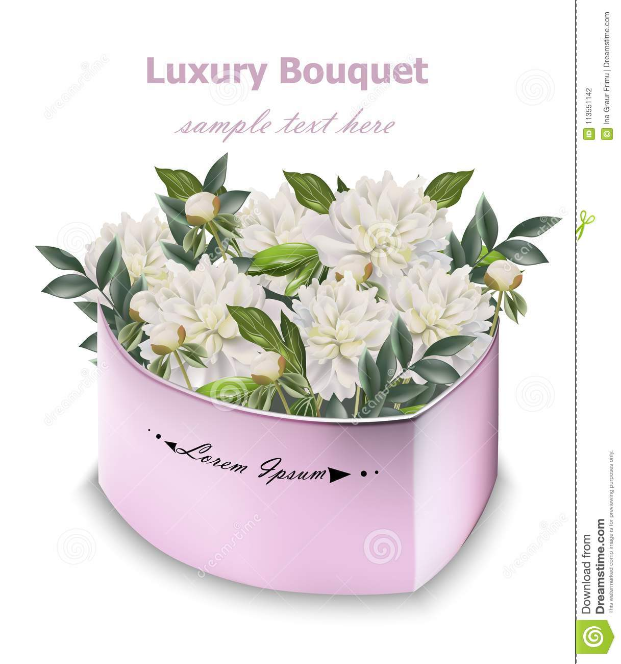 White peony flowers bouquet vector floral decor in a gift boxes white peony flowers bouquet vector floral decor in a gift boxes izmirmasajfo