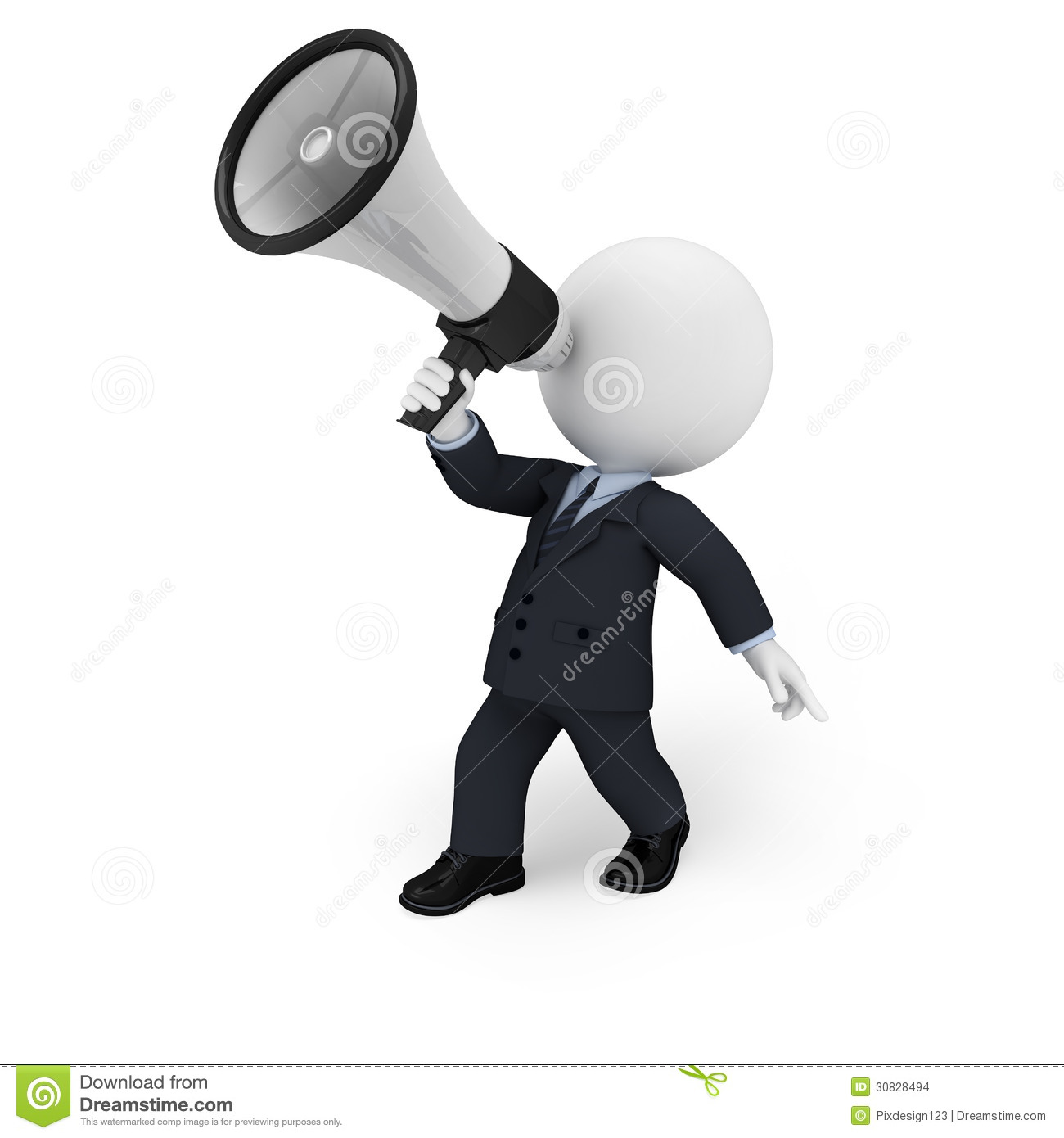 Stock Images: White people as business man with loudspeaker. Image ...