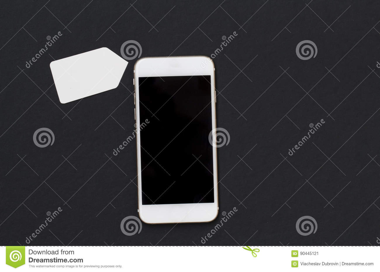 white phone with blank price tag smartphone and shopping label