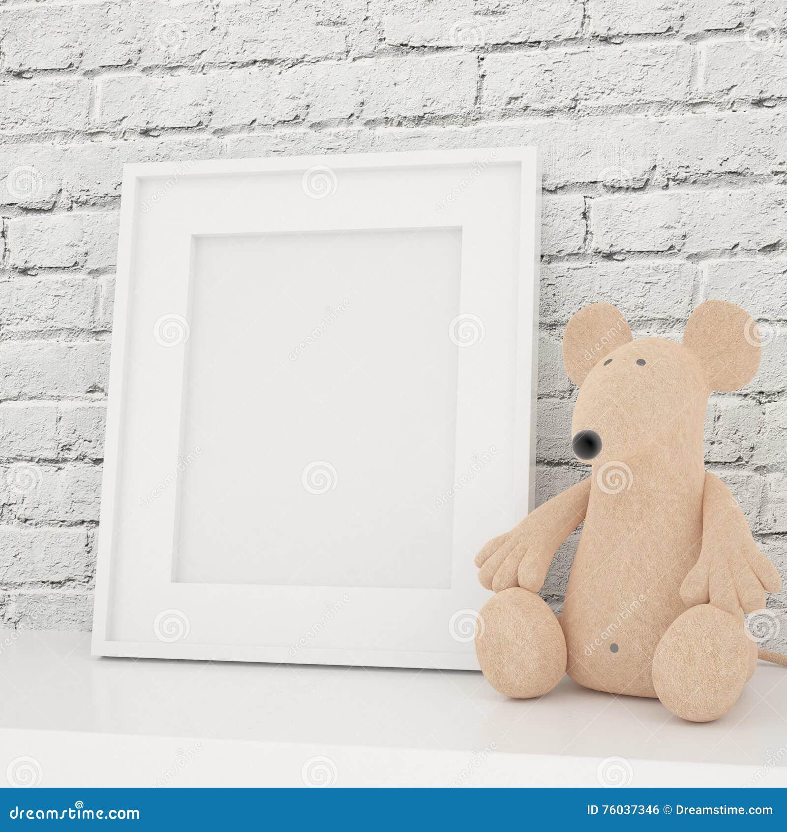 White Photo Frame Mock Up In Children Room Stock Photo - Image of ...