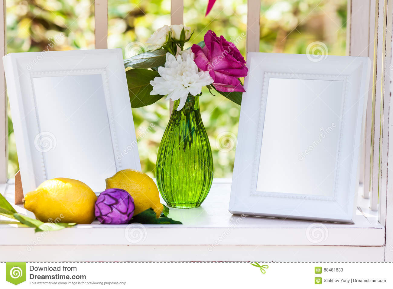 White Photo Frames On The Table For Wedding Decoration Stock Image