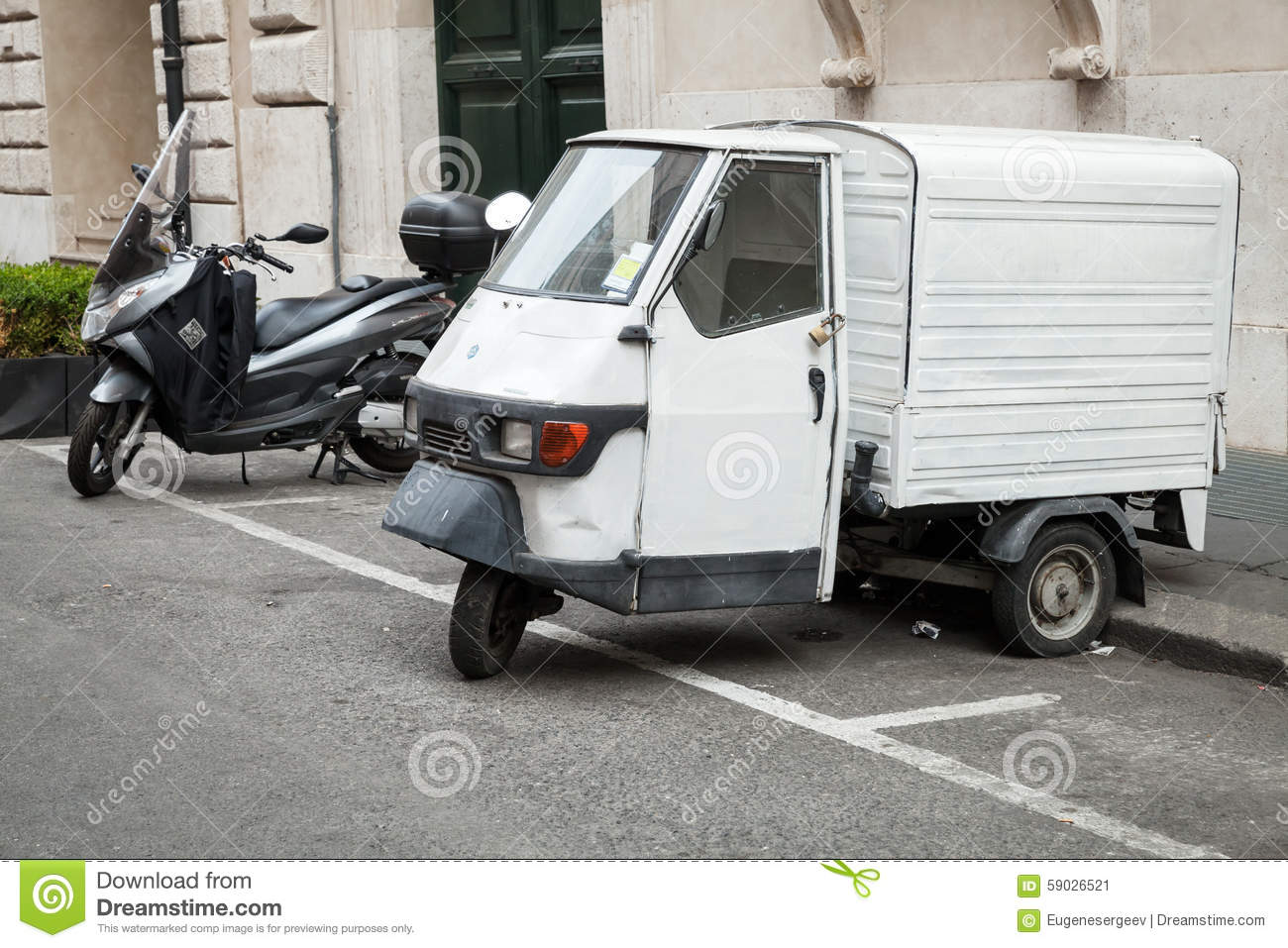 white piaggio ape 50 van stands parked editorial photo image 59026521. Black Bedroom Furniture Sets. Home Design Ideas