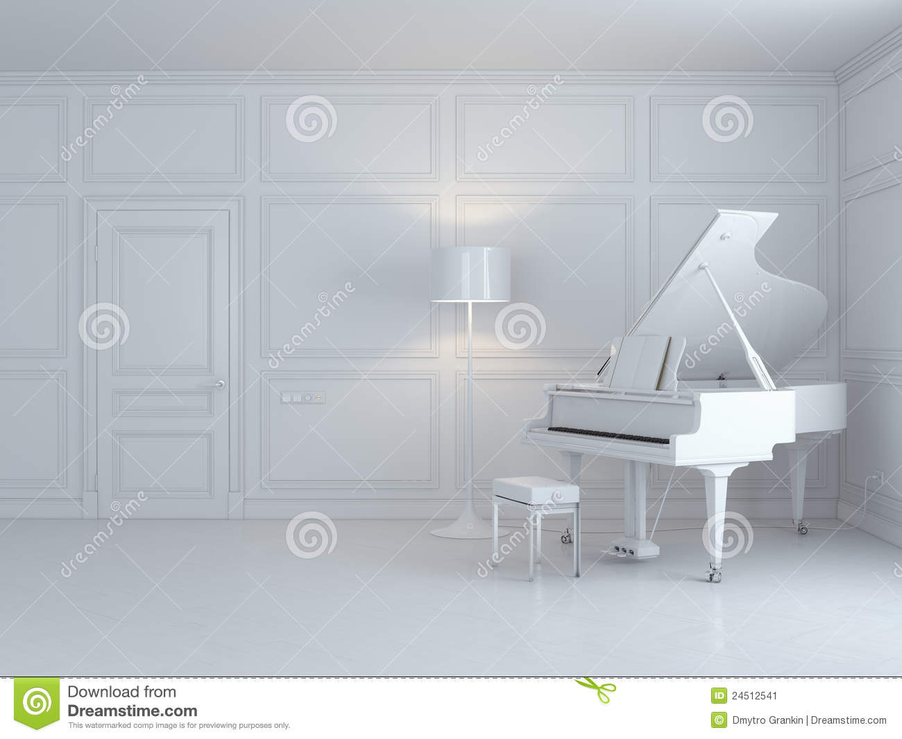 White Piano In A White Interior Stock Illustration - Illustration of ...