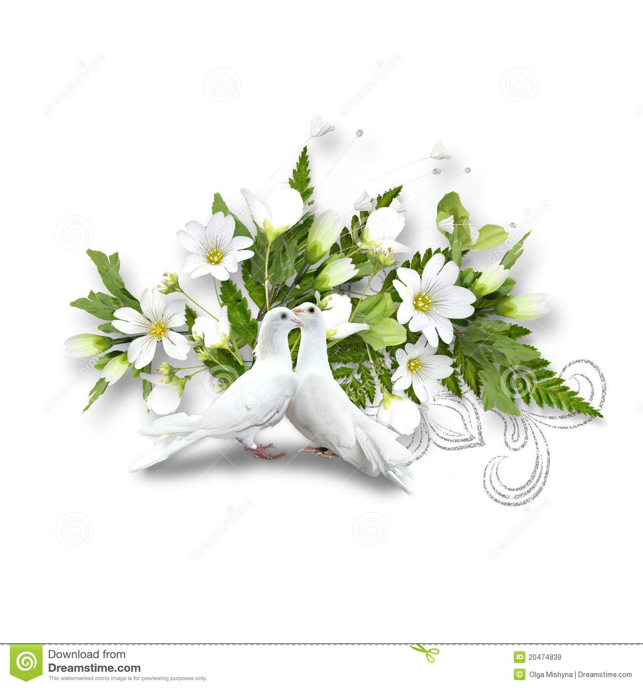 White pigeons and bouquet with white flowers stock image for Bouquet fleurs blanches