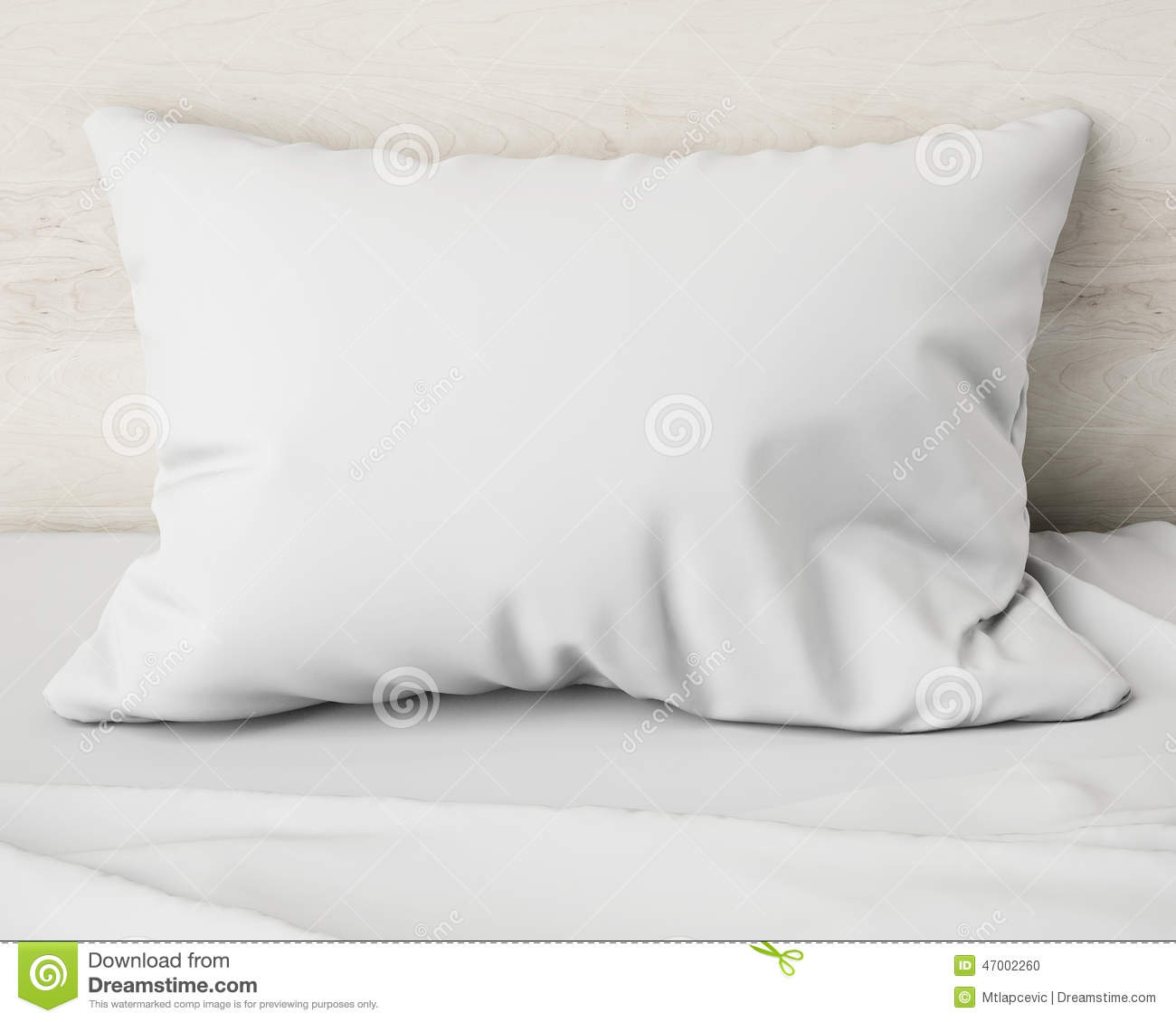 White Pillow On The Bed, Background Stock Illustration - Image: 47002260