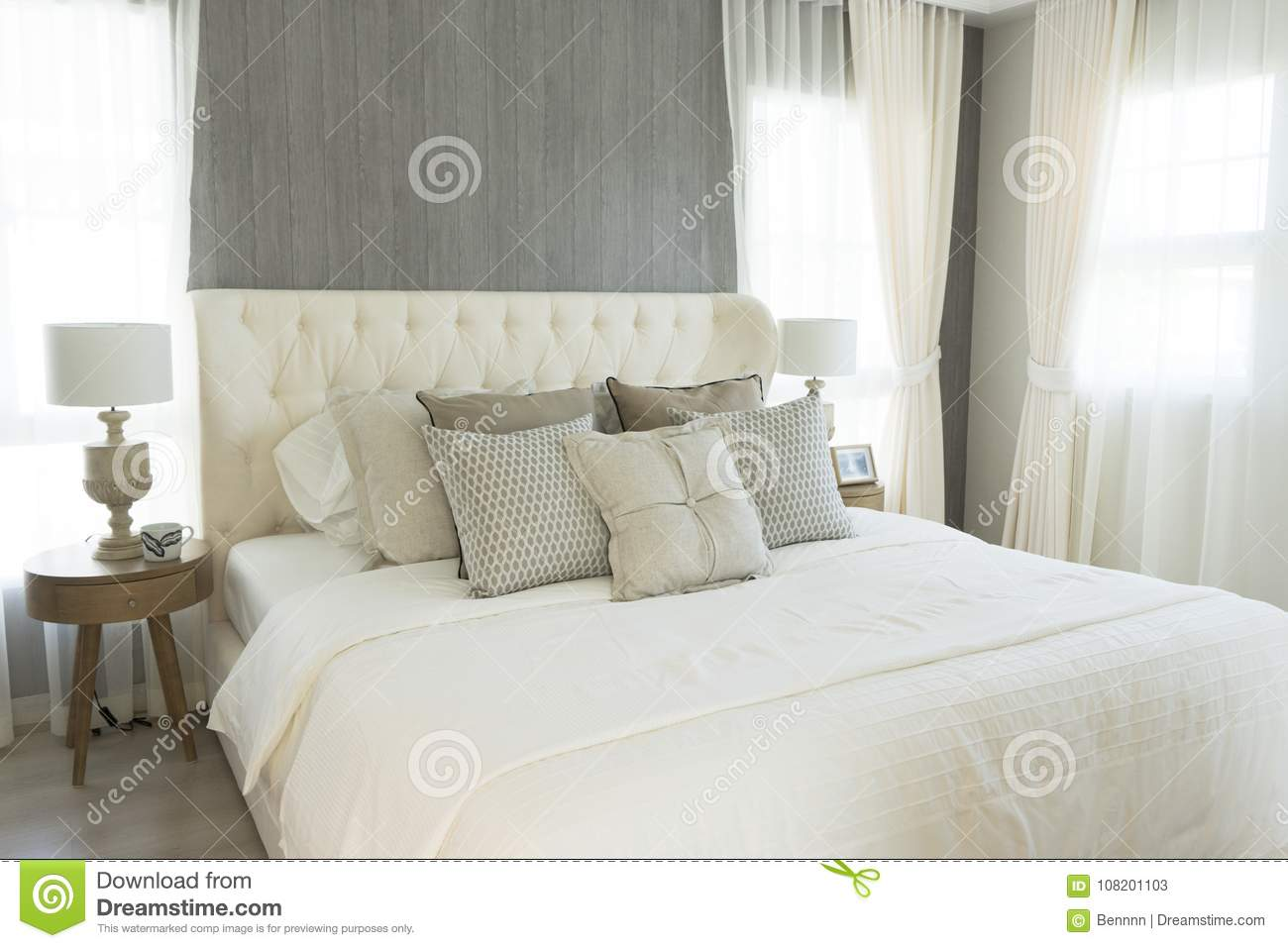 White Pillows Setting On English Country Style Bedroom Stock ...