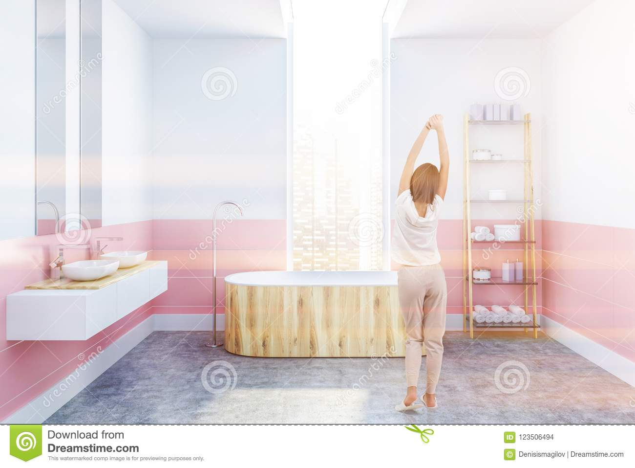 White And Pink Bathroom, Wooden Tub, Girl Stock Illustration ...
