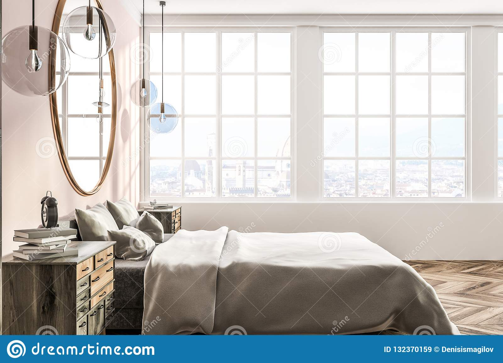White And Pink Bedroom, Side View Stock Illustration ...