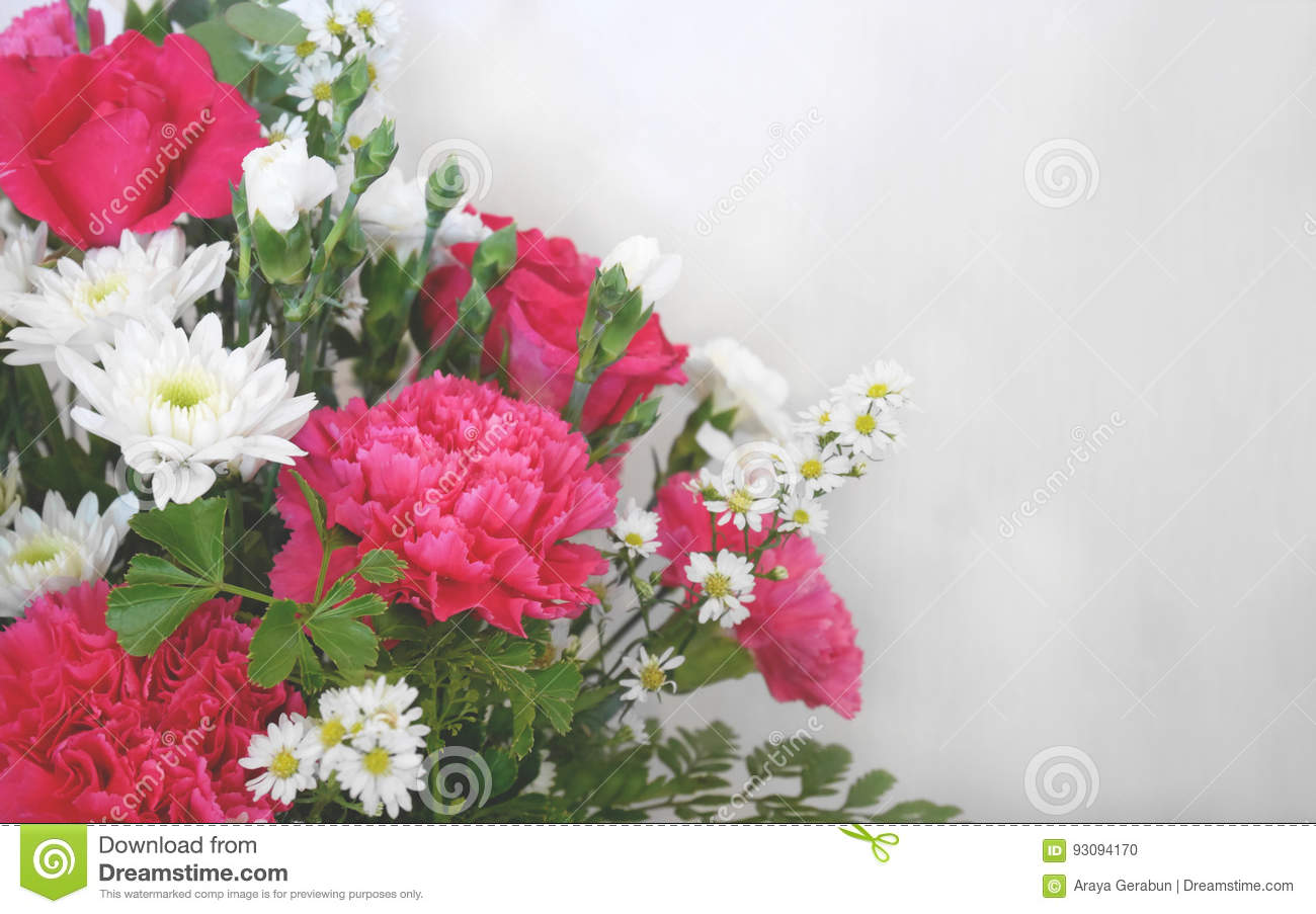 White And Pink Flower Bouquet Decorations With Copy Space Stock