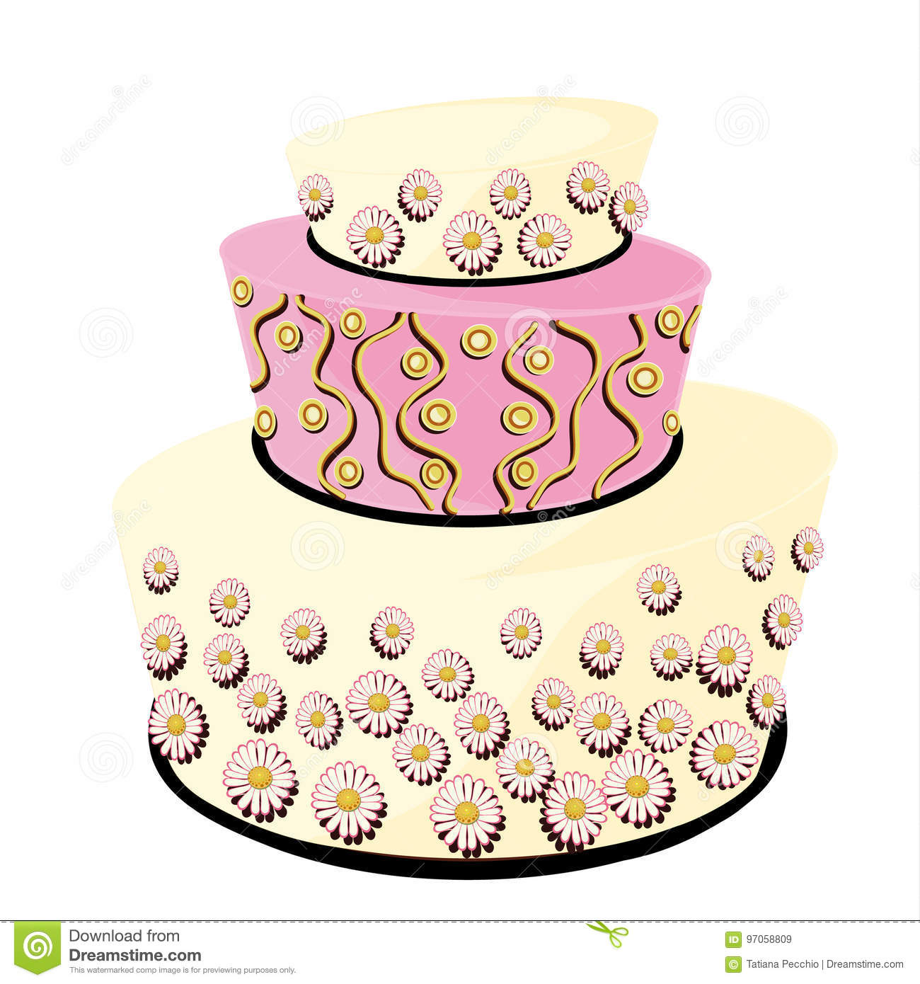 White And Pink Wedding Cake Decorated With Daisies Stock ...
