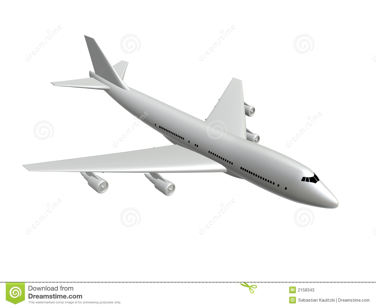 3d rendered illustration of a white plane.