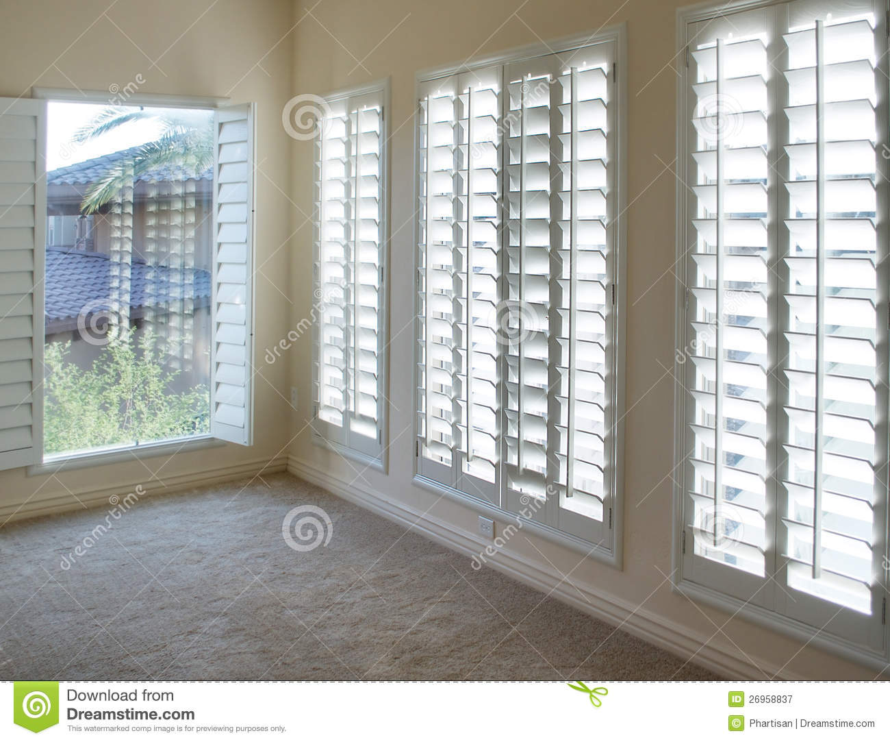 White Plantation Style Wood Shutters Royalty Free Stock Photography Image 26958837
