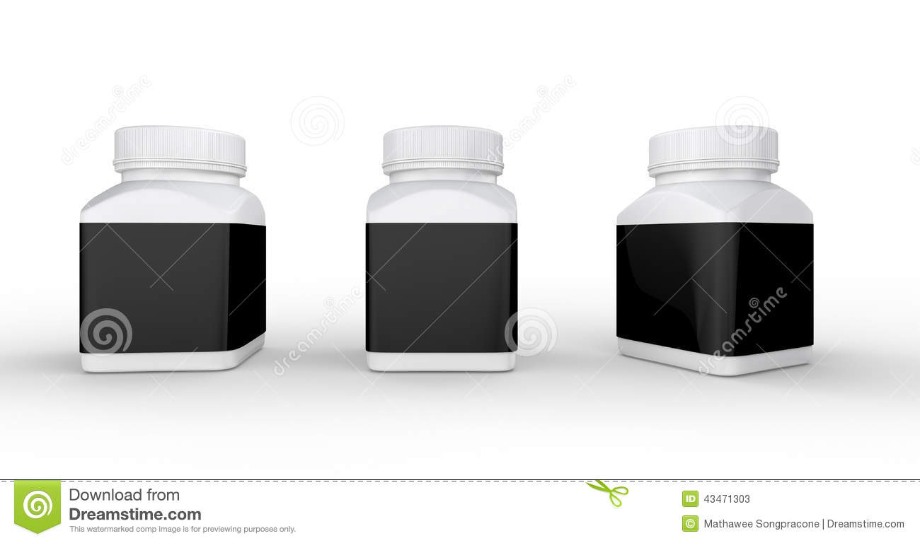 White plastic bottle with black label packaging ,clipping path i