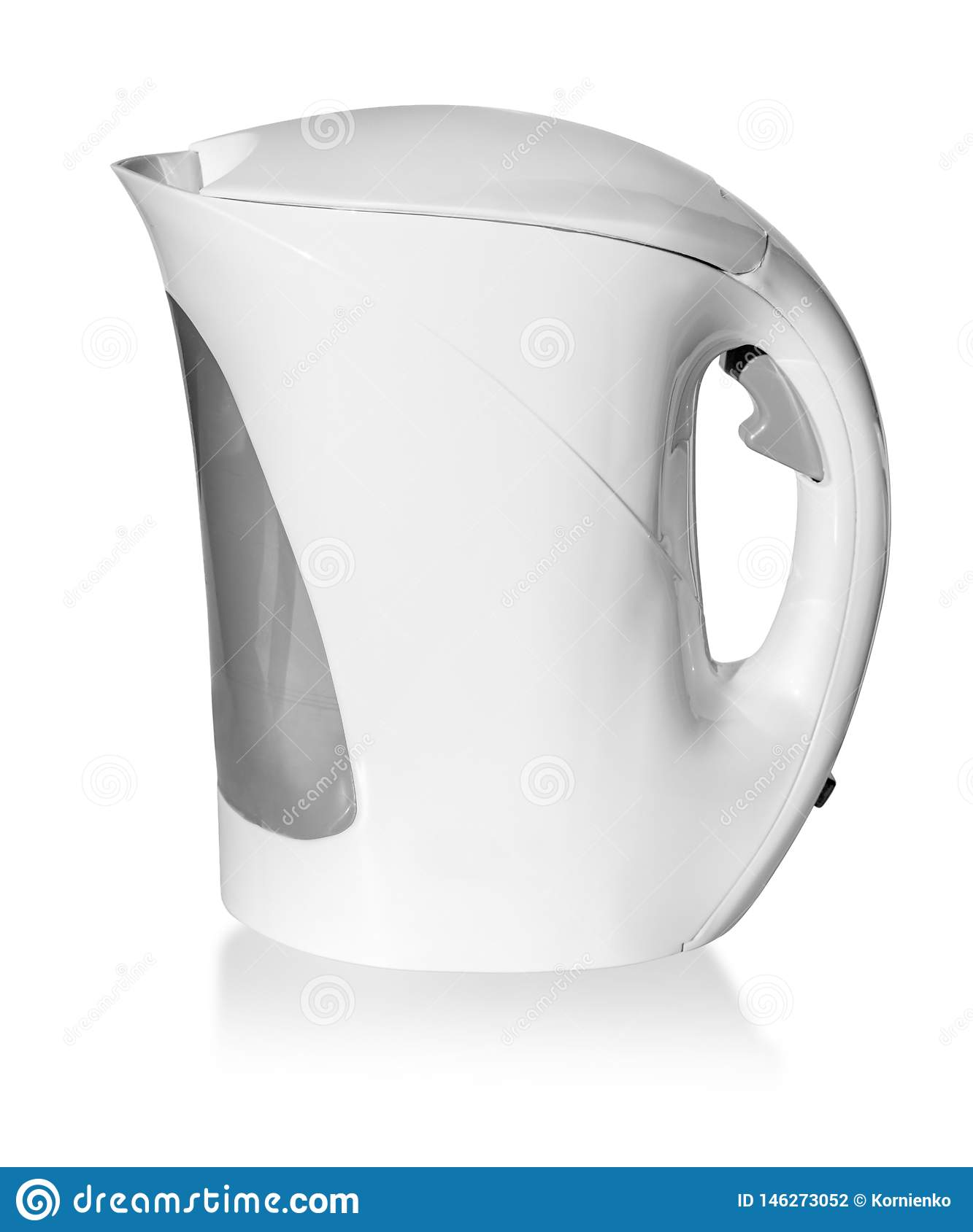 White, plastic electric kettle isolated