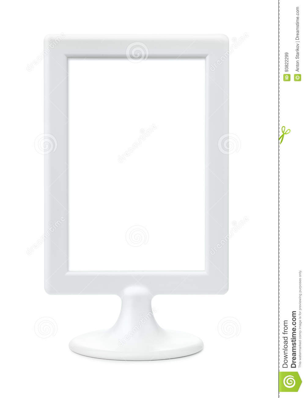 White Plastic Empty Picture Frame Stand Stock Image - Image of clean ...