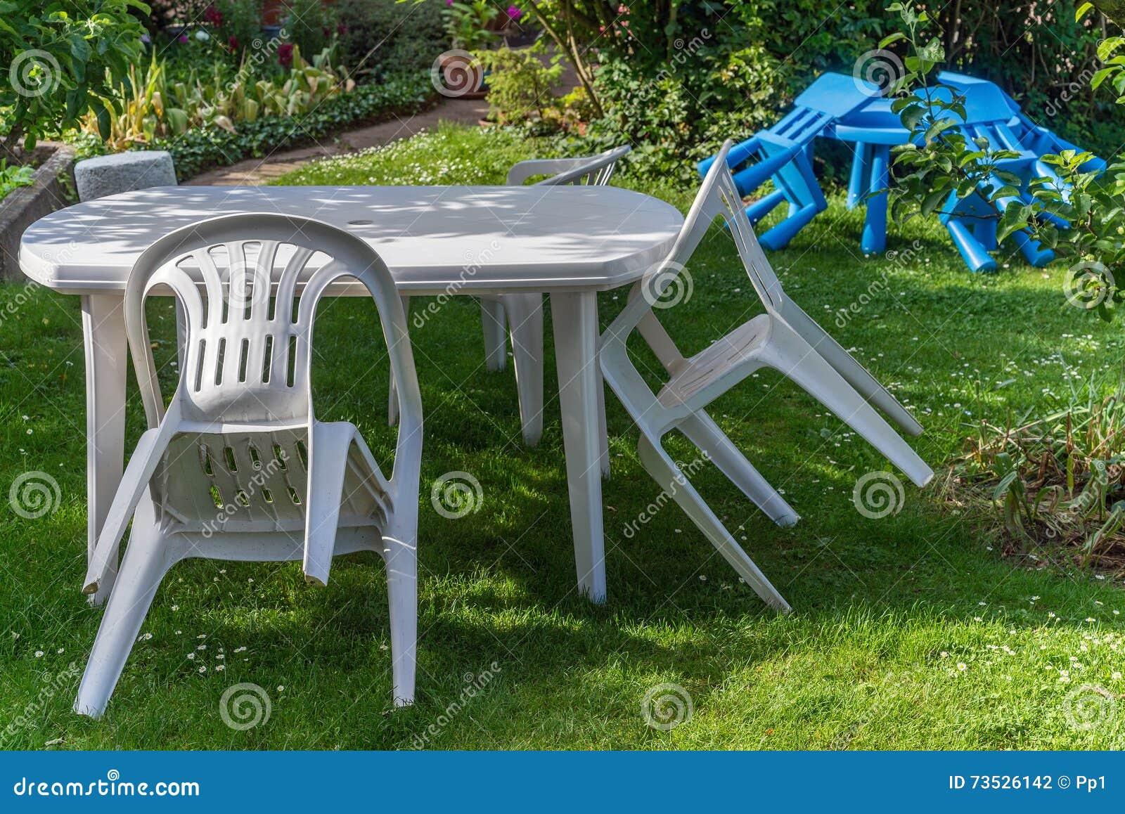 White Plastic Furniture Garden Chair Table Children Kids Lawn