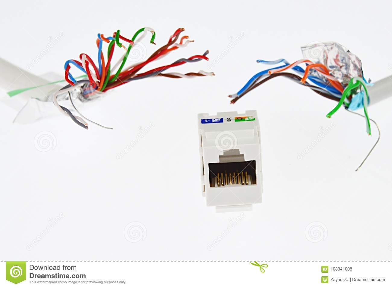 White Plastic Network Rj45 Utp Female Socket Is Chased By Two Wire Diagram In Addition Cable Wiring As Well Stp Wires