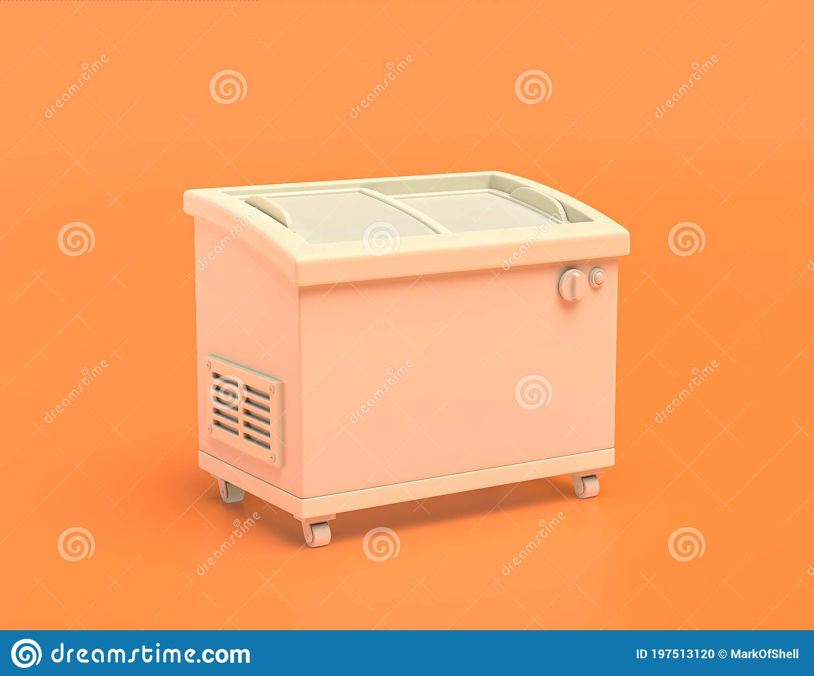 White Plastic Popcicle Freezer In Yellow Orange Background Flat Colors Single Color 3d Rendering Stock Illustration Illustration Of Monochrome Kitchen 197513120