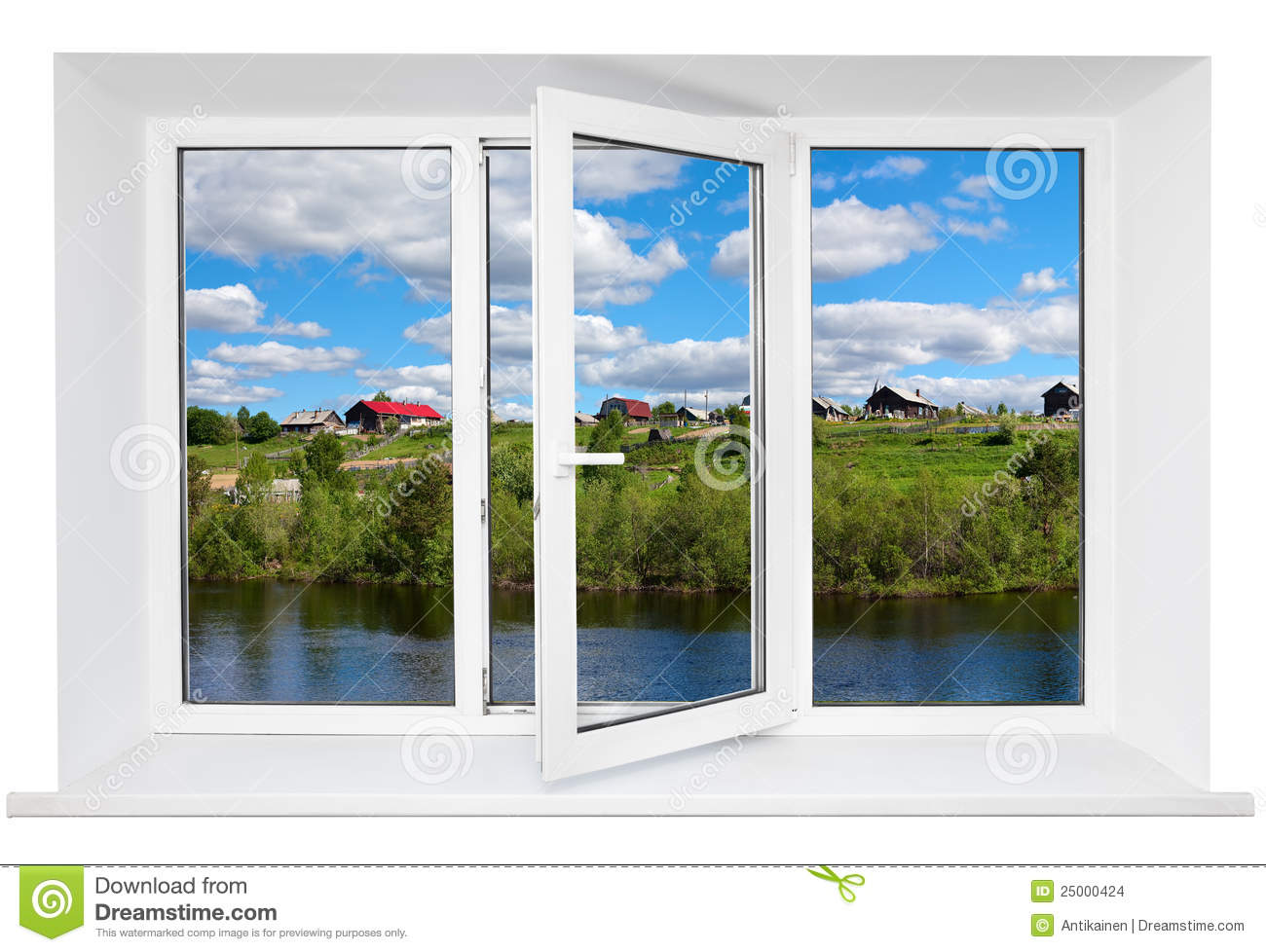 White plastic triple doors window stock images image for Window plastic