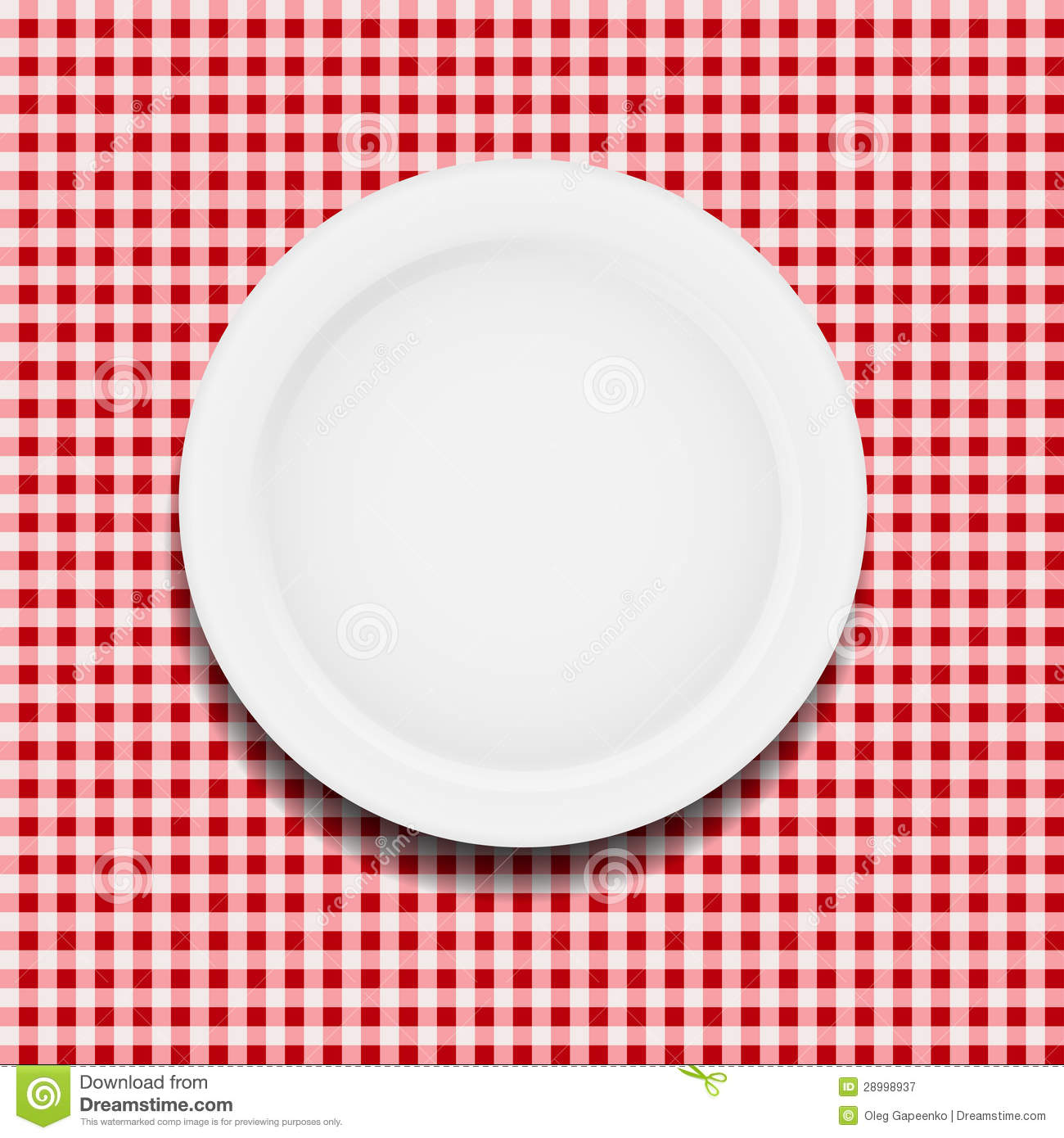 White Plate On A Checkered Tablecloth Vector Stock Vector