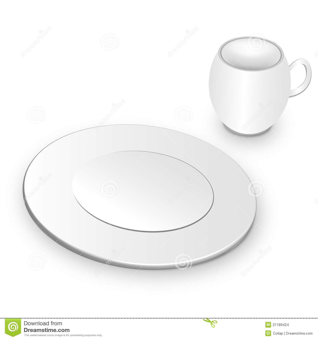 White plate and cup