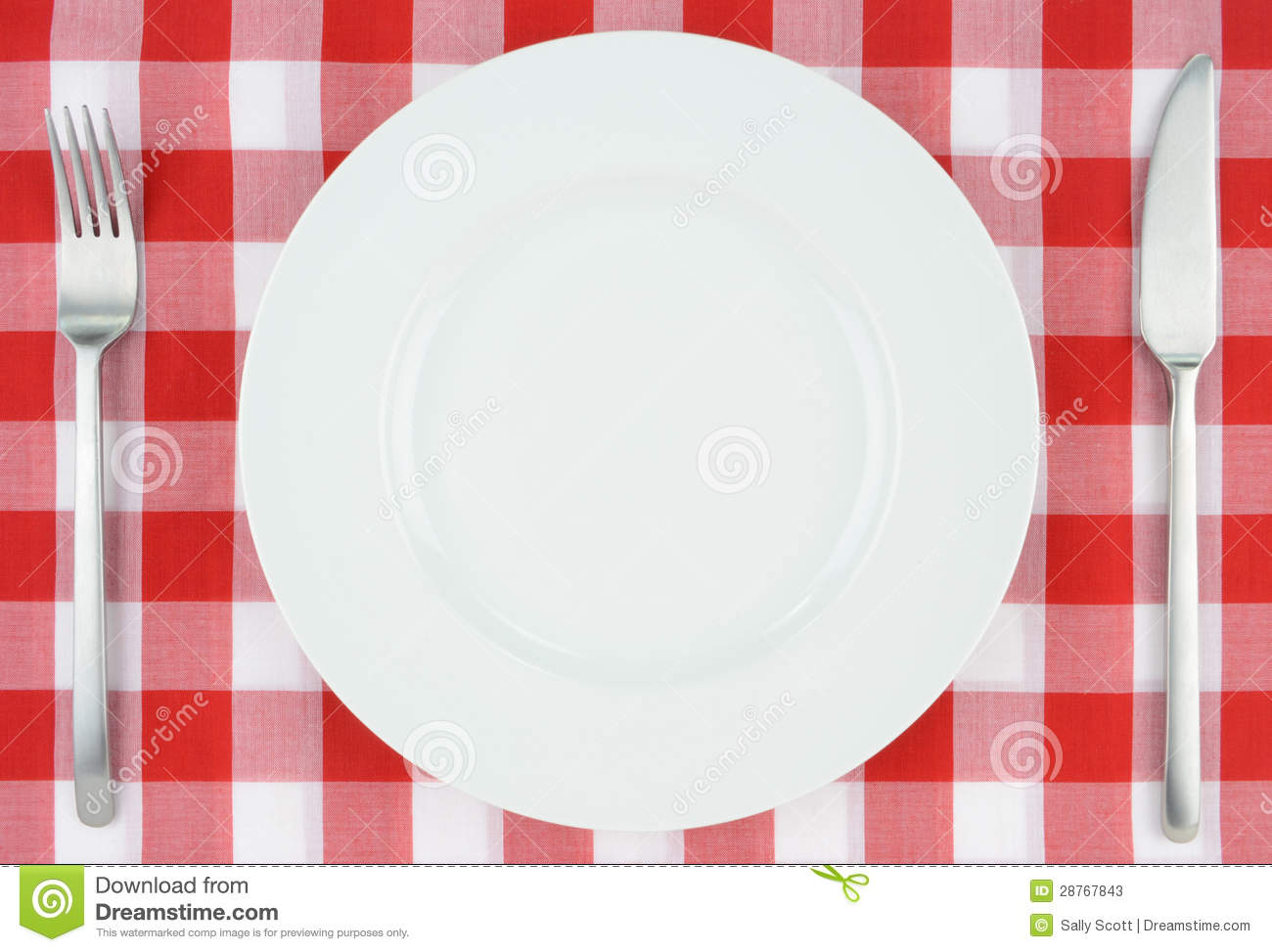 Royalty Free Stock Photo. Download White Plate On Red And White Checkered  Cloth ...
