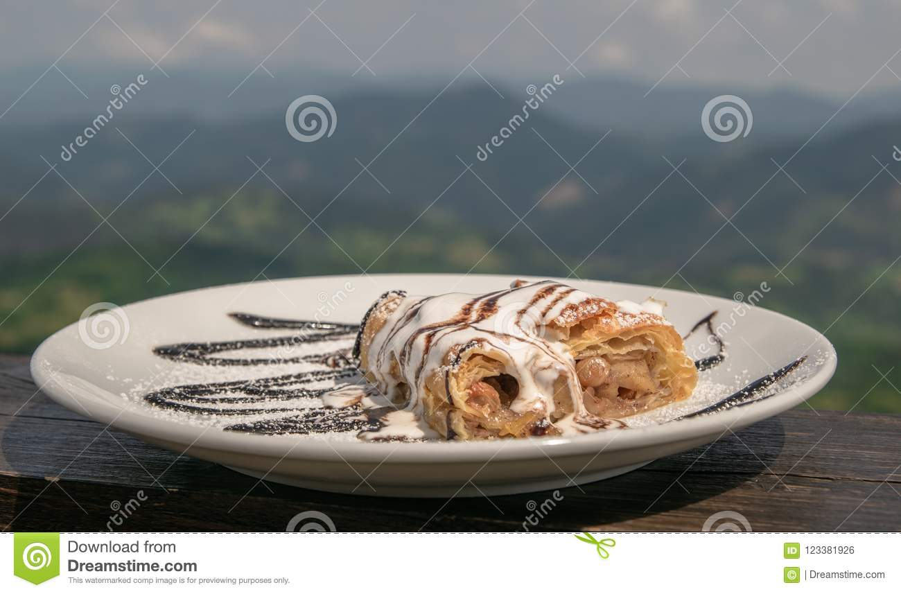 white plate with strudel on the balconies