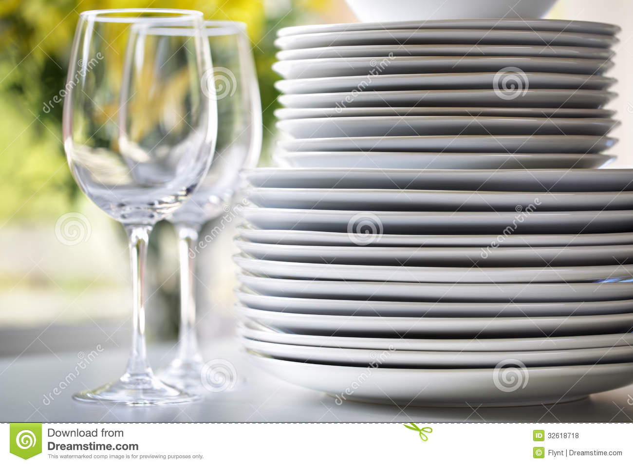 White Plates And Wine Glasses Stock Photo Image 32618718