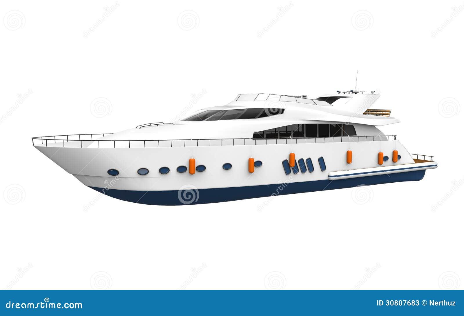 White Pleasure Yacht Isolated On White Background Stock Illustration - Image: 30807683