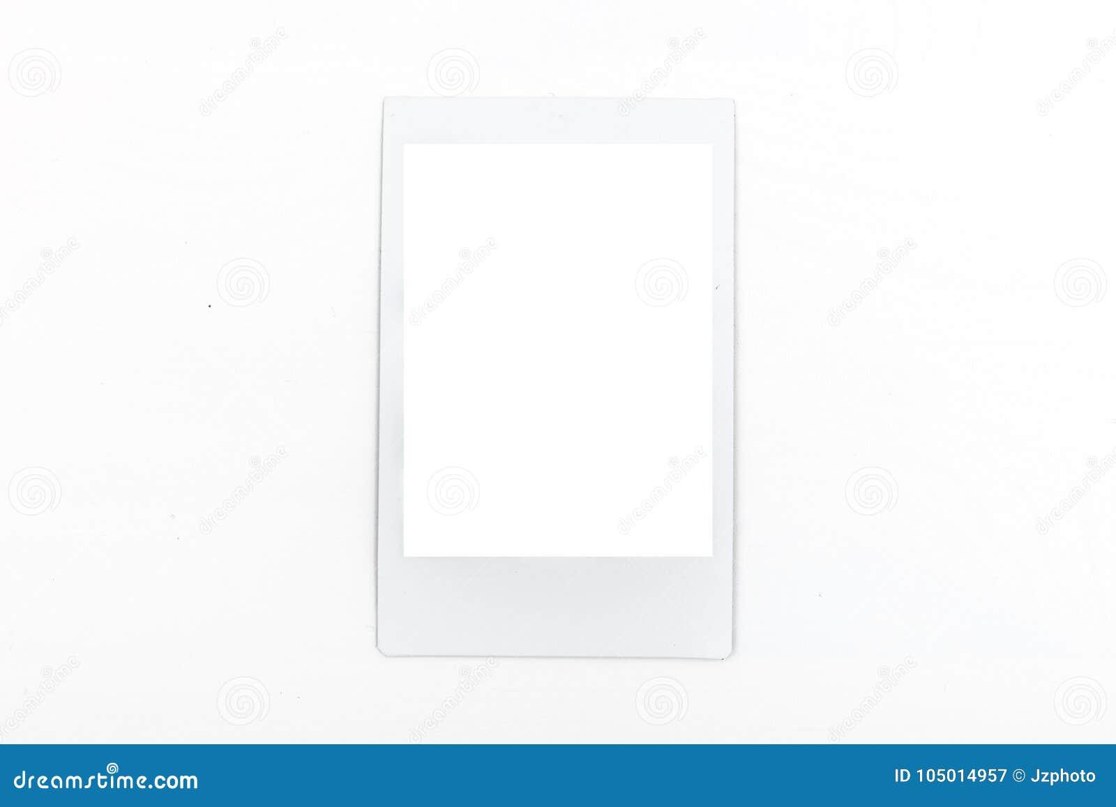 White Polaroid Mockup Frame On White Background Stock Image - Image ...