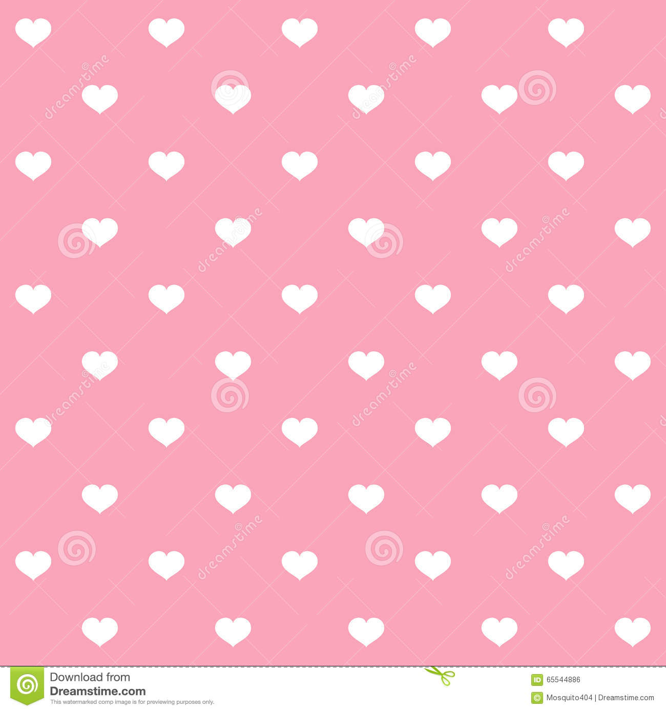 White Polka Dots Hearts On Pink Background Stock Vector