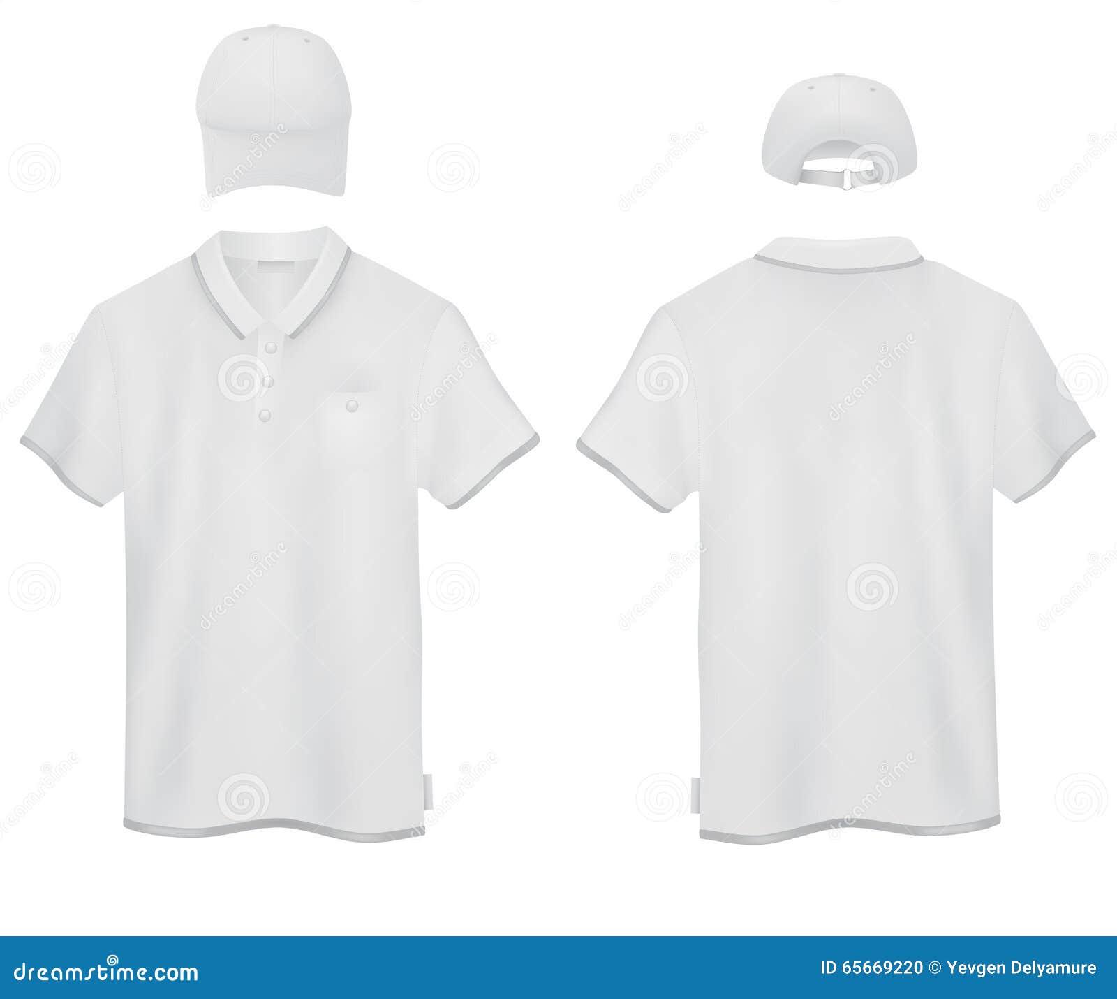 white polo and a baseball cap template stock vector illustration