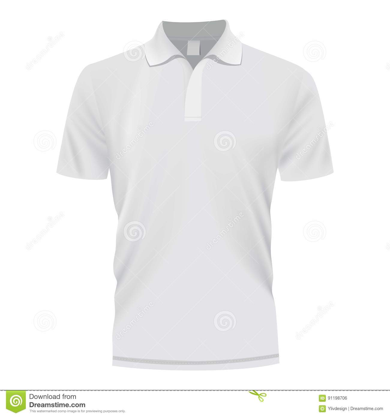 7070cf5c White polo shirt mockup. Realistic illustration of white polo shirt vector  mockup for web