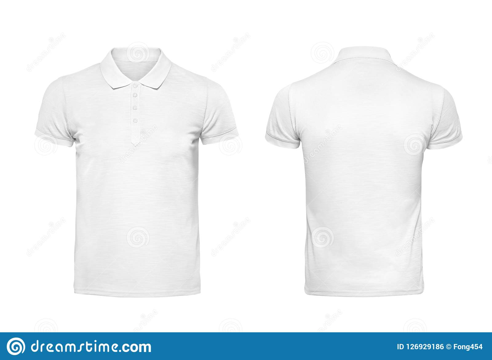 White Polo Tshirt Design Template Isolated On White With Clipping