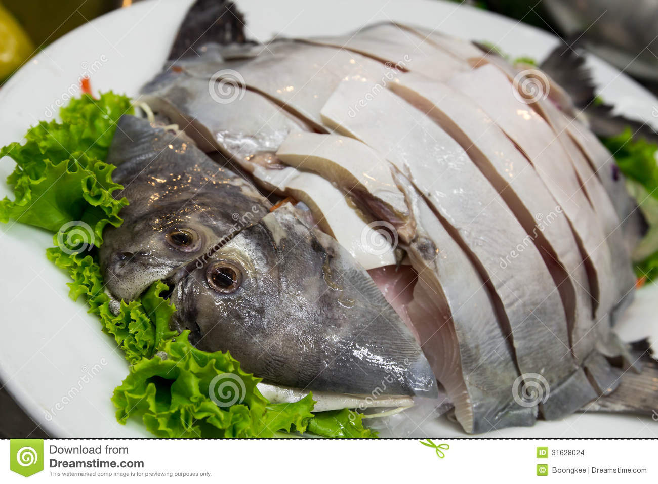 White Pomfret fish stock photo. Image of aquatic, meal ...